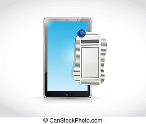 tablet newspaper ad illustration design over a white...