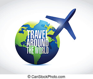 travel around the globe illustration design