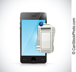 phone newspaper ad illustration design over a white...