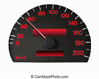 speedometer - spedometer with clipping path, red numbers