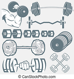 Barbell Collection - Clip art of various dumbbells and...