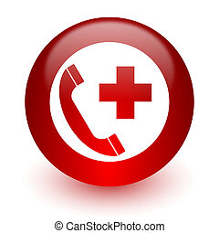 emergency call red computer icon on white background - red...