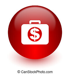 financial red computer icon on white background