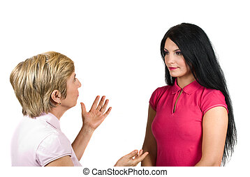 Mother and daughter have a conversation,the young woman...