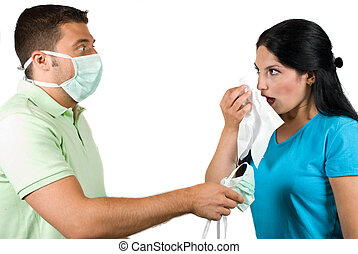 Flu and paranoia man - Couple with problems :woman is sick...
