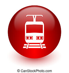 train red computer icon on white background