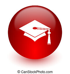 education red computer icon on white background - red...