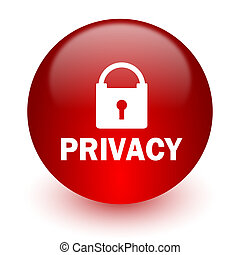 privacy red computer icon on white background