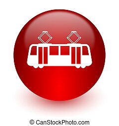 tram red computer icon on white background