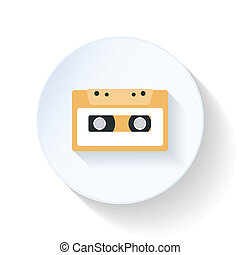 Casette flat icon - Casette icon flat design vector graphic...