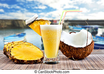 Pina Colada - Pinacolada pina colada cocktail with beach...