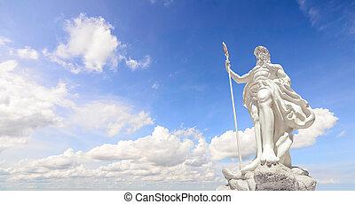 a, estátua, Poseidon, claro, azul, céu