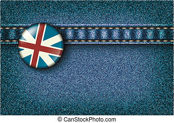 Badge with the UK flag on the jeans texture