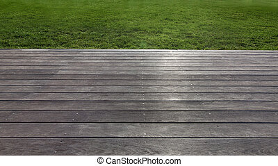 deck - close up view of nice wooden deck in summer...