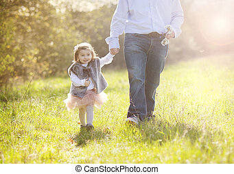 Happy father with daughter - Young father during morning...