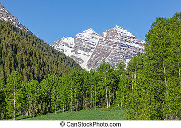 Maroon Bells landscape - the snow capped maroon bells aspen...