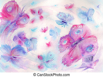 Butterflies - Handmade nature background with colorful...