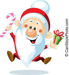 Santa Claus is looking forward to Christmas - cartoon illustration
