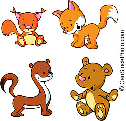 fox, bear, weasel and squirrel - cute animals cartoon...