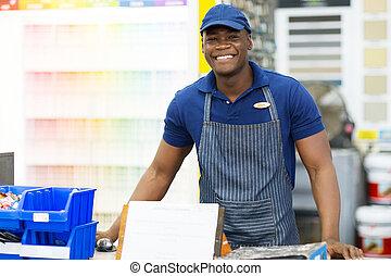 Hardware, amerikanische, arbeiter, kaufmannsladen, afrikanisch