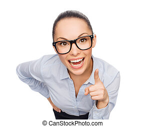 smiling businesswoman with finger up - business and emotion...