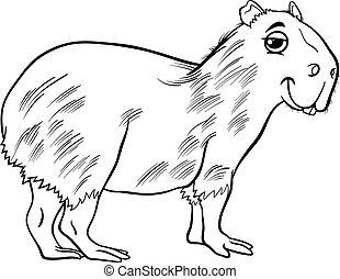 capybara animal cartoon coloring page - Black and White...