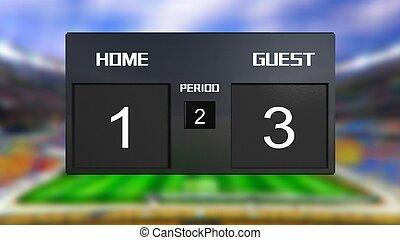 soccer match scoreboard guest win 1 & 3