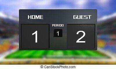 soccer match scoreboard guest win 2 & 1