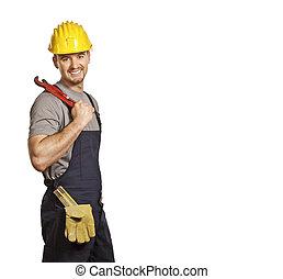 confident handyman - fine portrait of caucasian smiling...