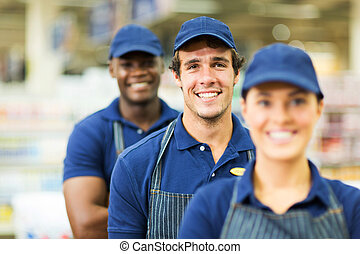 group of supermarket workers closeup