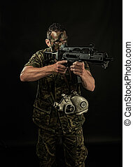 Spanish military with SMG - Spanish military with SMG on...