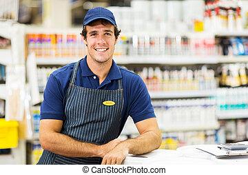 hardware store worker - handsome hardware store worker...