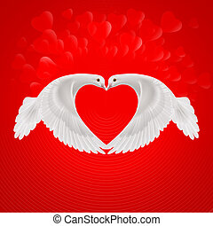 Sweethearts - Two white doves make the shape of the wings of...