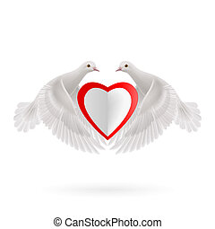 Sweethearts - Two white doves holds white-red heart in wings