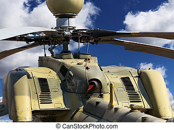 Helicopter, rear view - Upper part of the combat helicopter...