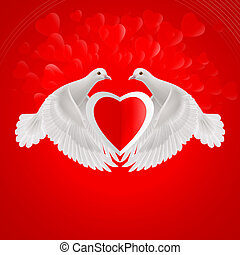 Sweethearts - Two white doves holds red heart in wings