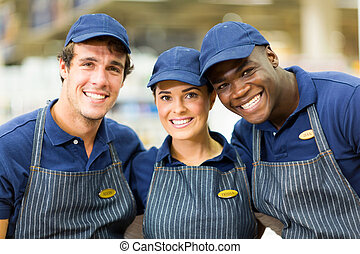group of hardware shop workers