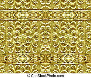 Gold Plated Ornament background pattern in vivid tones.