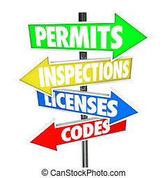 Permits Inspections Licenses Codes Words Arrow Road Signs -...