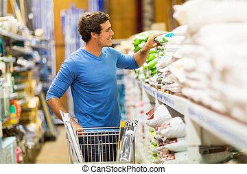 joven, hombre, compras, hardware, Tienda