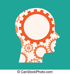 Gears design over green background, vector illustration