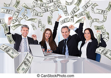 Business People With Money Rain In Conference Room -...