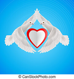 Sweethearts - White doves form of the wings of the heart