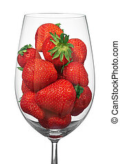 Glass with the strawberry