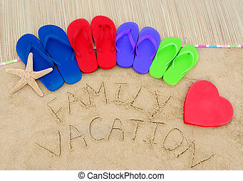 Sign quot;Family vacationquot; and color flip flops on sandy...