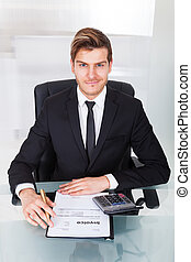 Businessman Checking Expenses At Office Desk