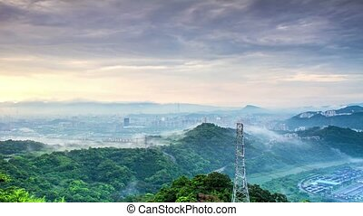 Time lapse of taipei sunset for adv