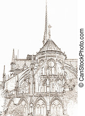 Notre Dame Cathedral Paris - graphic of Notre Dame Cathedral...