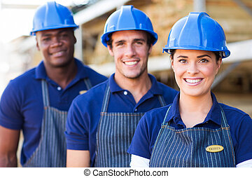 group of building material warehouse workers