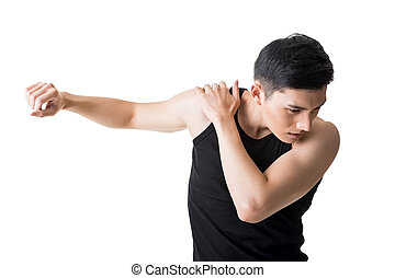 shoulder pain - Asian young man having shoulder pain,...
